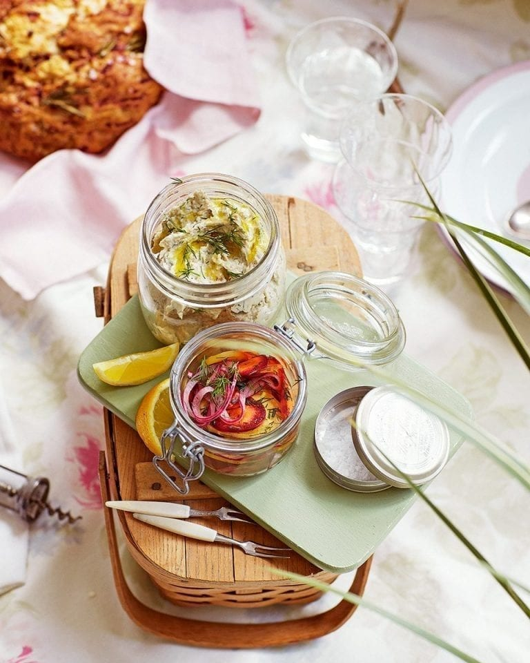 Smoked mackerel pâté with rainbow pickles