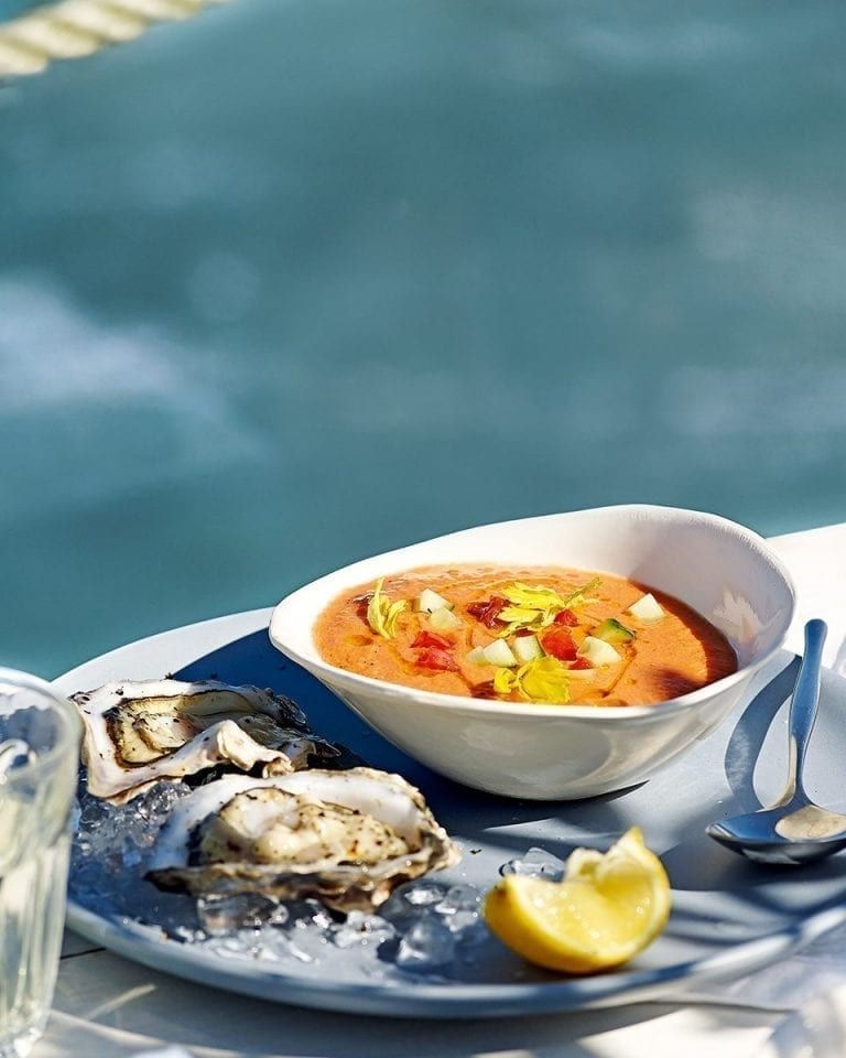 Bloody Mary gazpacho with fresh oysters