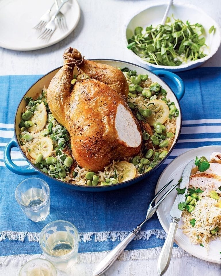 Pot-roast chicken with pilaf rice, broad beans and lemon