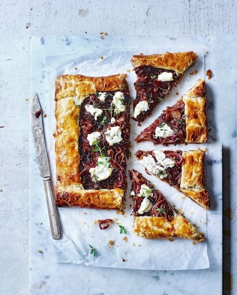 Caramelised onion and goat's cheese galette