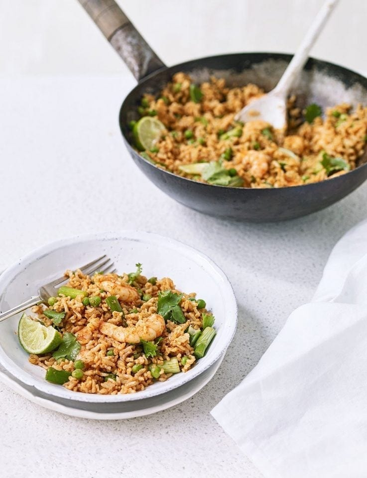 Red curry rice with prawns