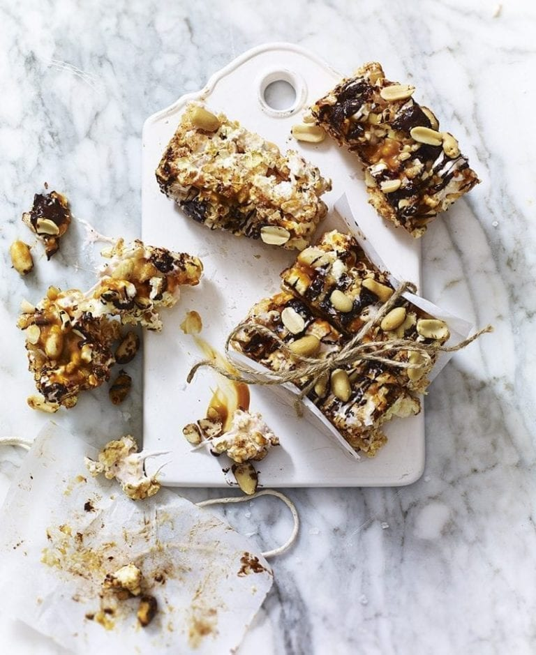 Caramel, chocolate and peanut popcorn bars