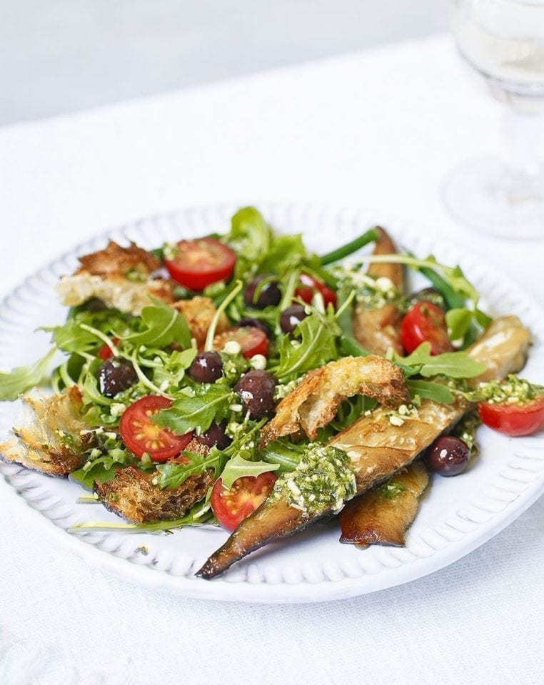 Grilled mackerel with green bean, olive and tomato pesto salad