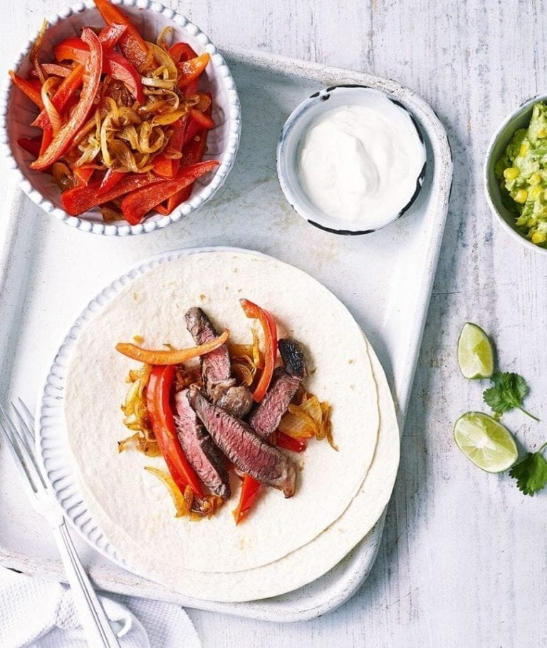 Beef fajitas with avocado and sweetcorn salsa