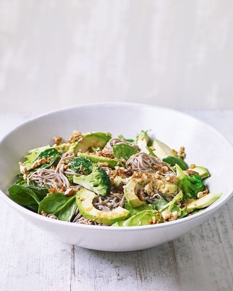 Green noodle and tofu salad with ginger and tamari dressing