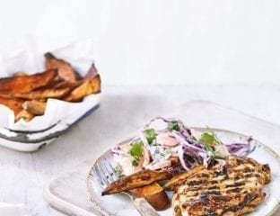Teriyaki chicken with sweet potato wedges and slaw
