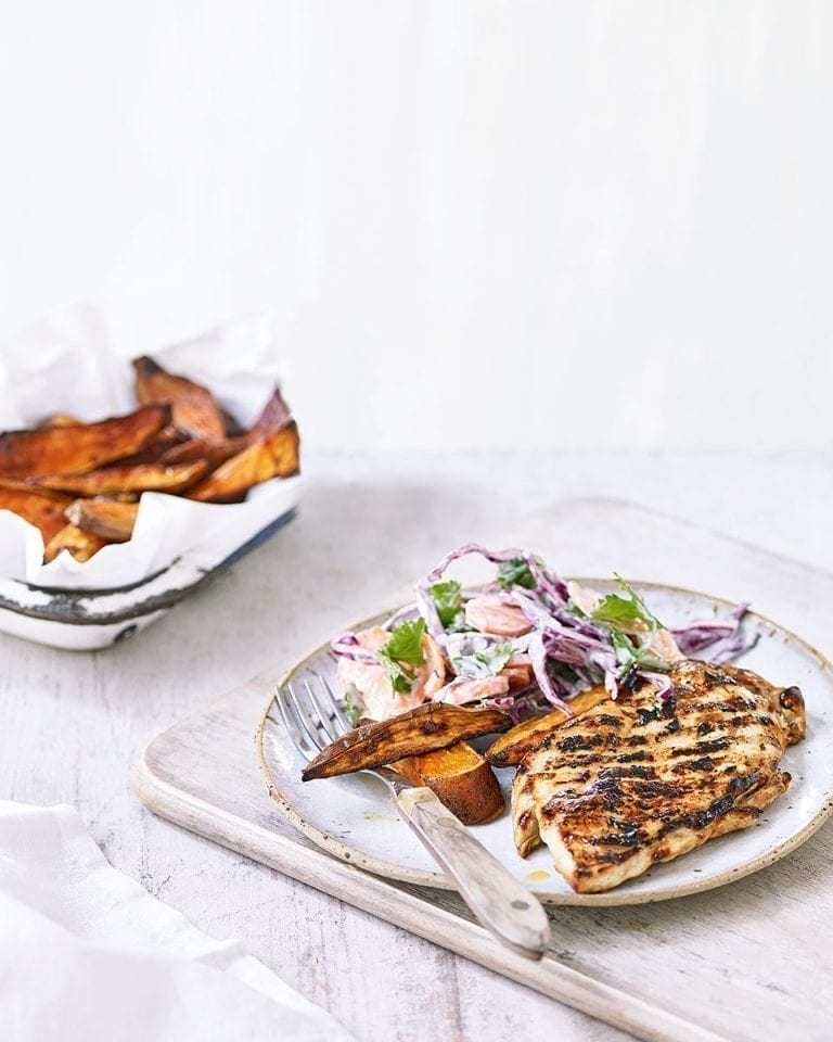 Teriyaki chicken with sweet potato wedges and slaw