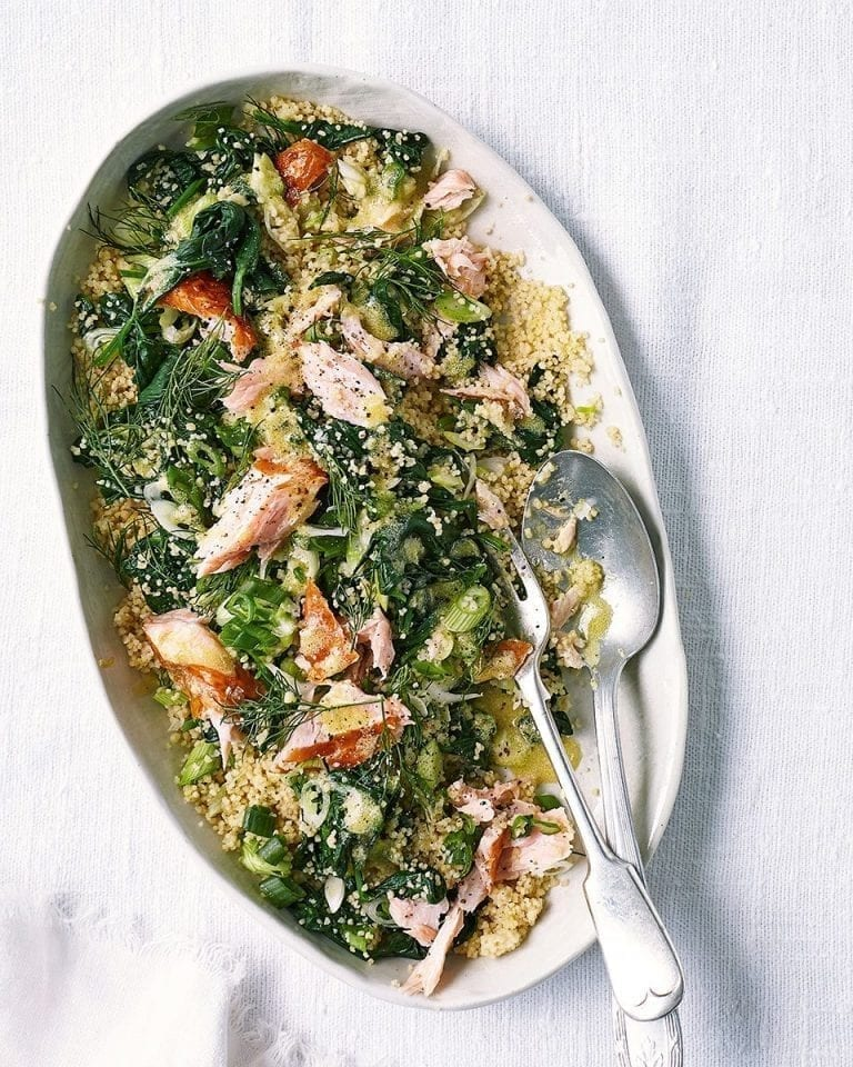 Hot-smoked salmon with lemon and dill couscous