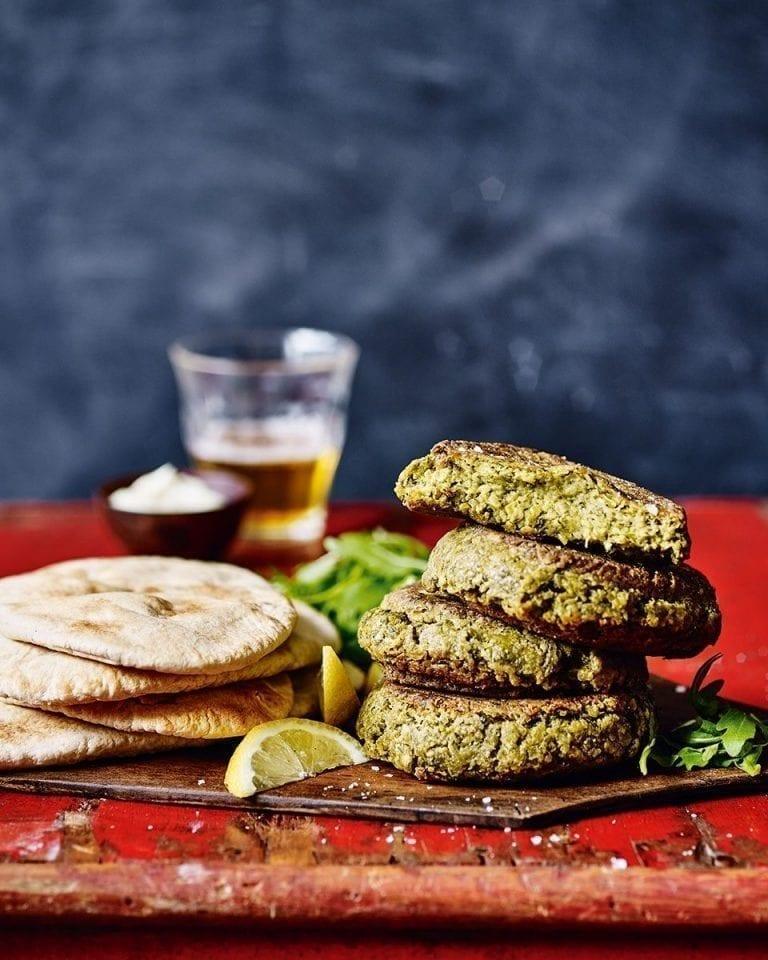 Vegan pea, herb and chickpea burgers