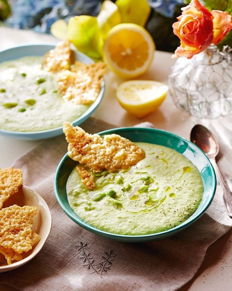 Crushed pea and broad bean soup with cheese crisps
