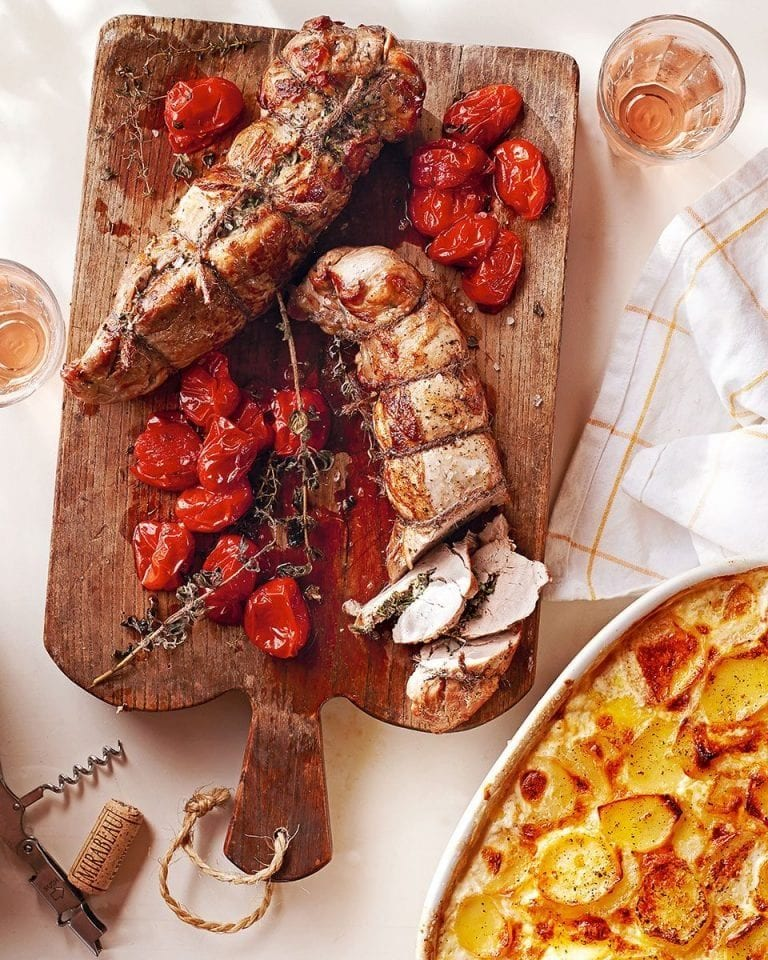 Garlic and garrigue pork fillet with roast cherry tomatoes
