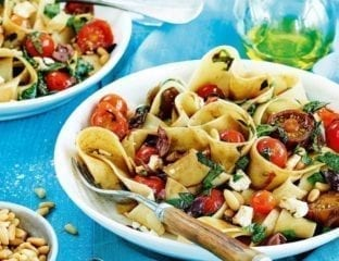 Cherry tomato, olive, feta and herb pappardelle