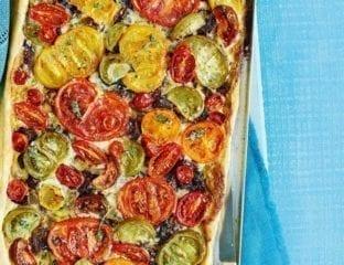 Tomato, caramelised onion and mascarpone tart