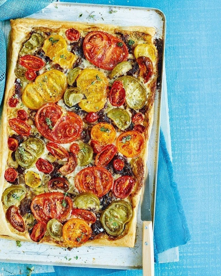 Tomato, caramelised onion and mascarpone tart