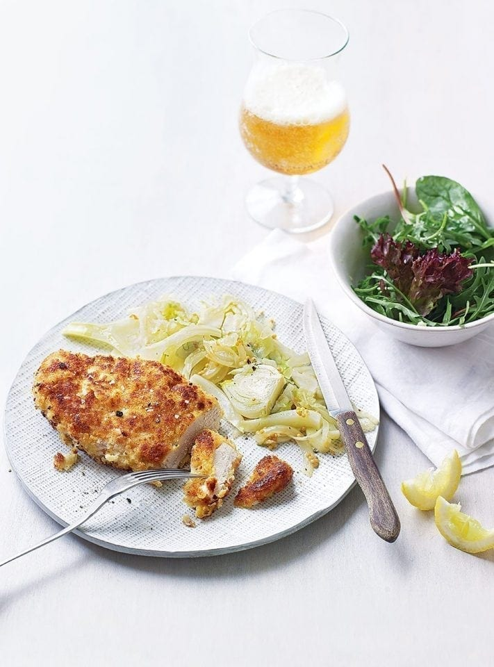 Chicken schnitzels with quick fennel and apple sauerkraut