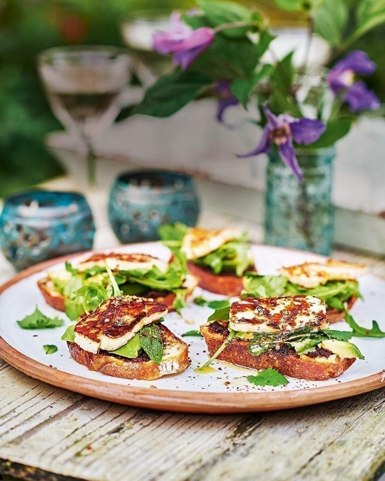 Grilled halloumi toasts with avocado and tapenade