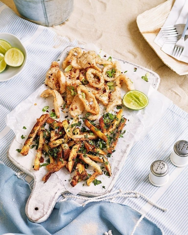 Salt and pepper squid with herb and garlic salt chips