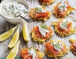 Smoked salmon latkes with Scandinavian horseradish cream