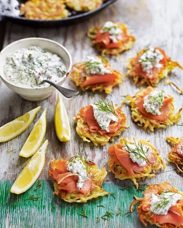 Smoked salmon latkes with Scandinavian horseradish cream