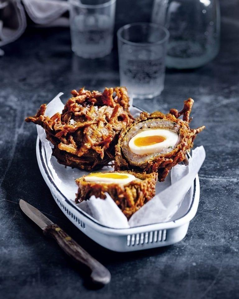 Scotch egg onion bhaji