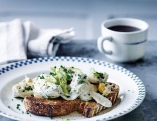 Egg mayonnaise with spring onion, mustard and chives