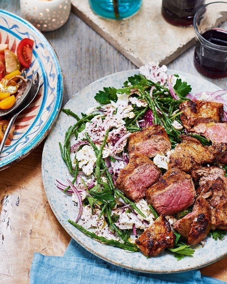 Spiced lamb with samphire and sumac salad