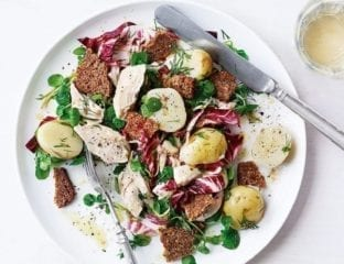 Chicken, dill and potato salad with anchovy dressing and rye bread croutons