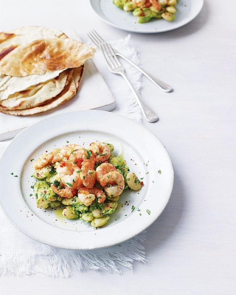 Lemongrass and chilli prawns with avocado bean salsa
