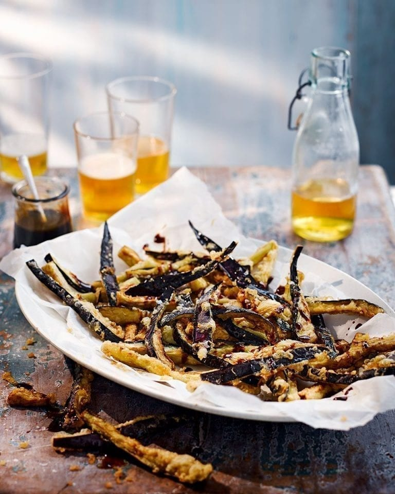 Aubergine fries with balsamic drizzle