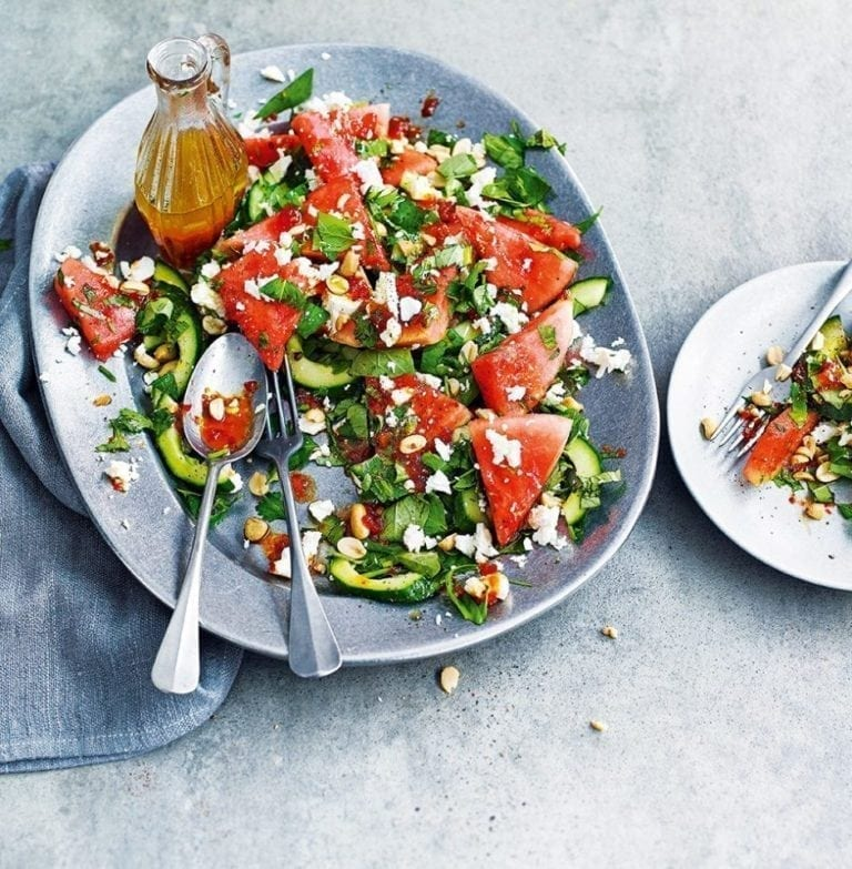 Watermelon, feta, herb and peanut salad with hot and sour dressing