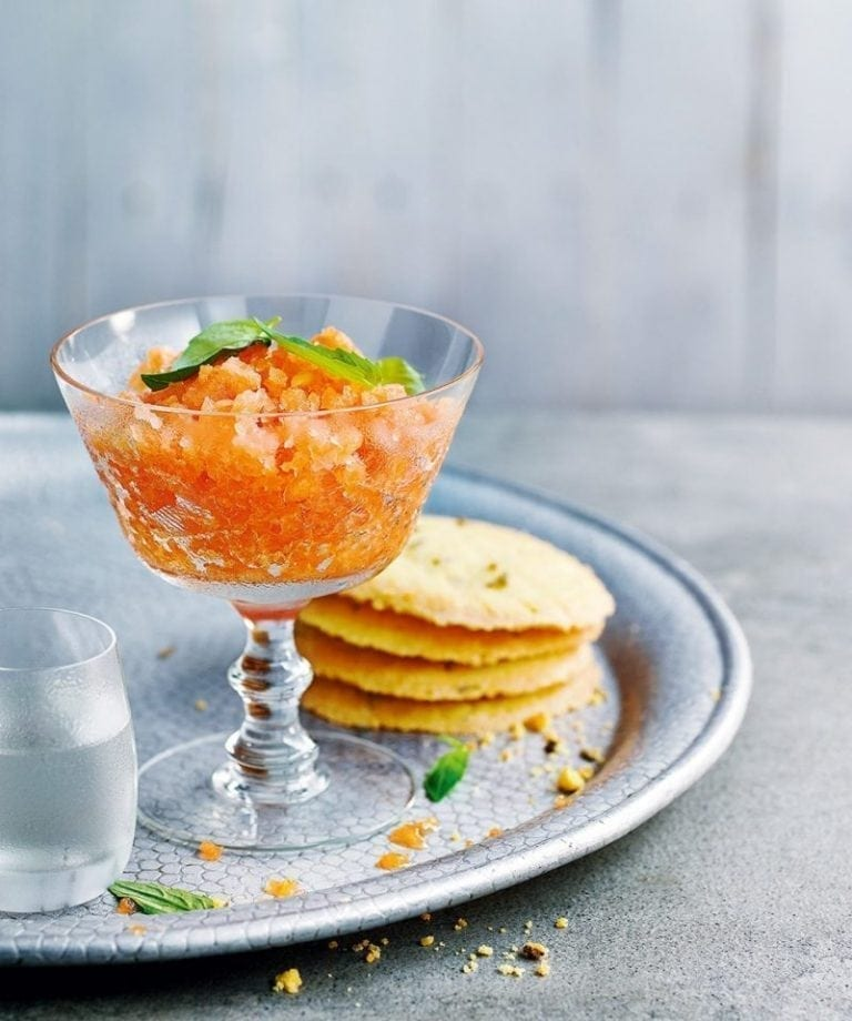 Melon and gin granita with fennel biscuits