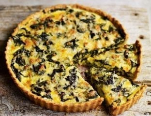 Cheddar and chard tart with cheese and oatmeal pastry