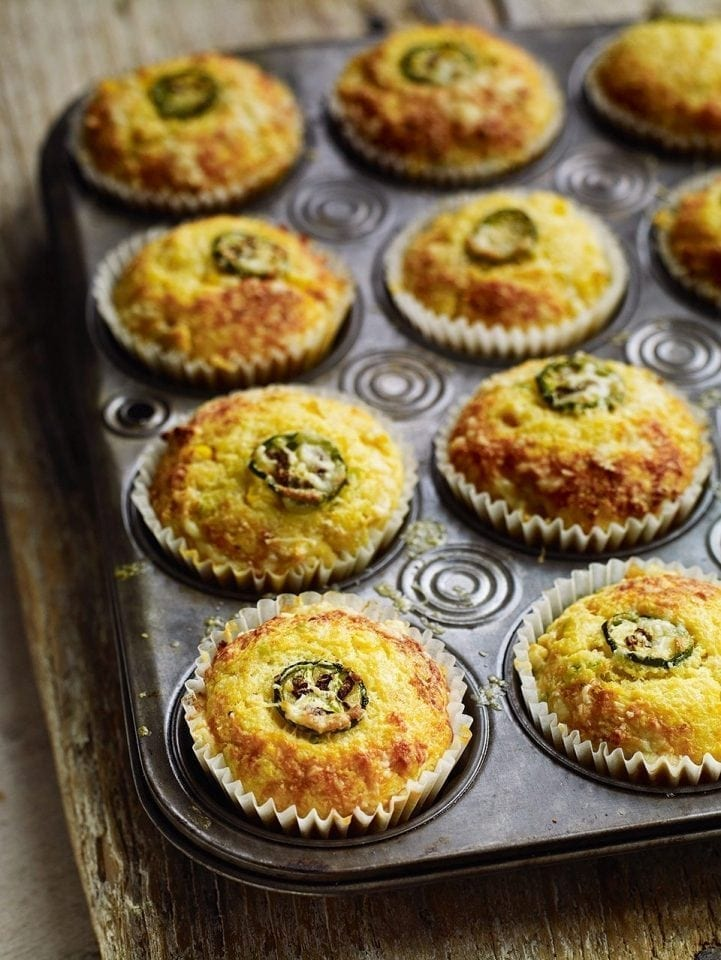 Cheddar, jalapeño, chilli and sweetcorn muffins