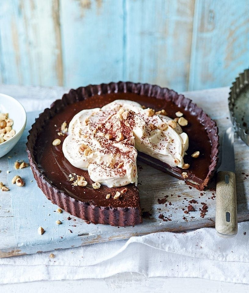 Chetna Makan's three chocolate and cardamom tart | delicious. magazine