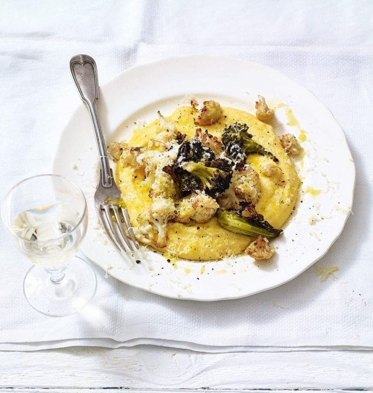 Roasted cauliflower and broccoli polenta