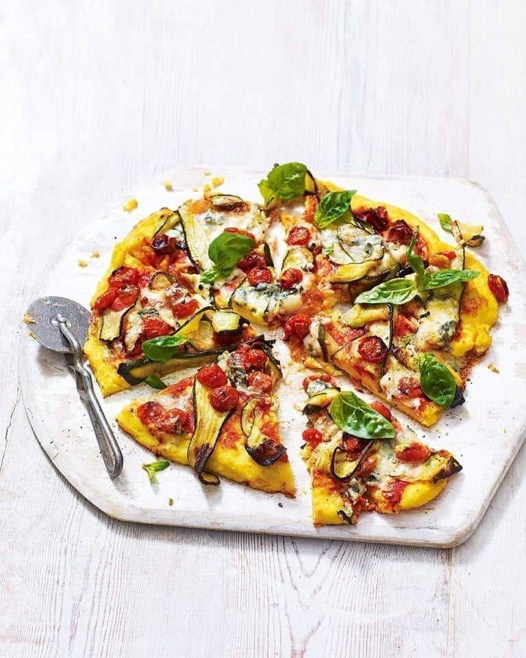 Polenta pizza with cherry tomatoes and dolcelatte