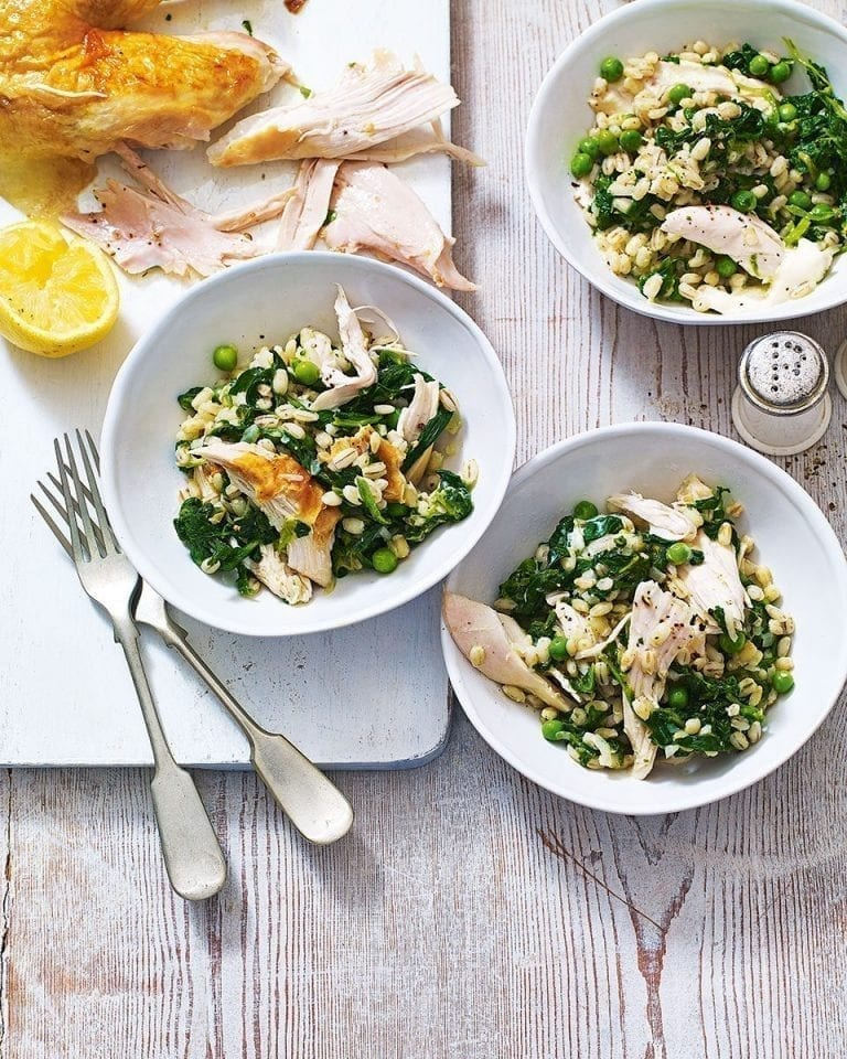 Roast chicken with pearl barley