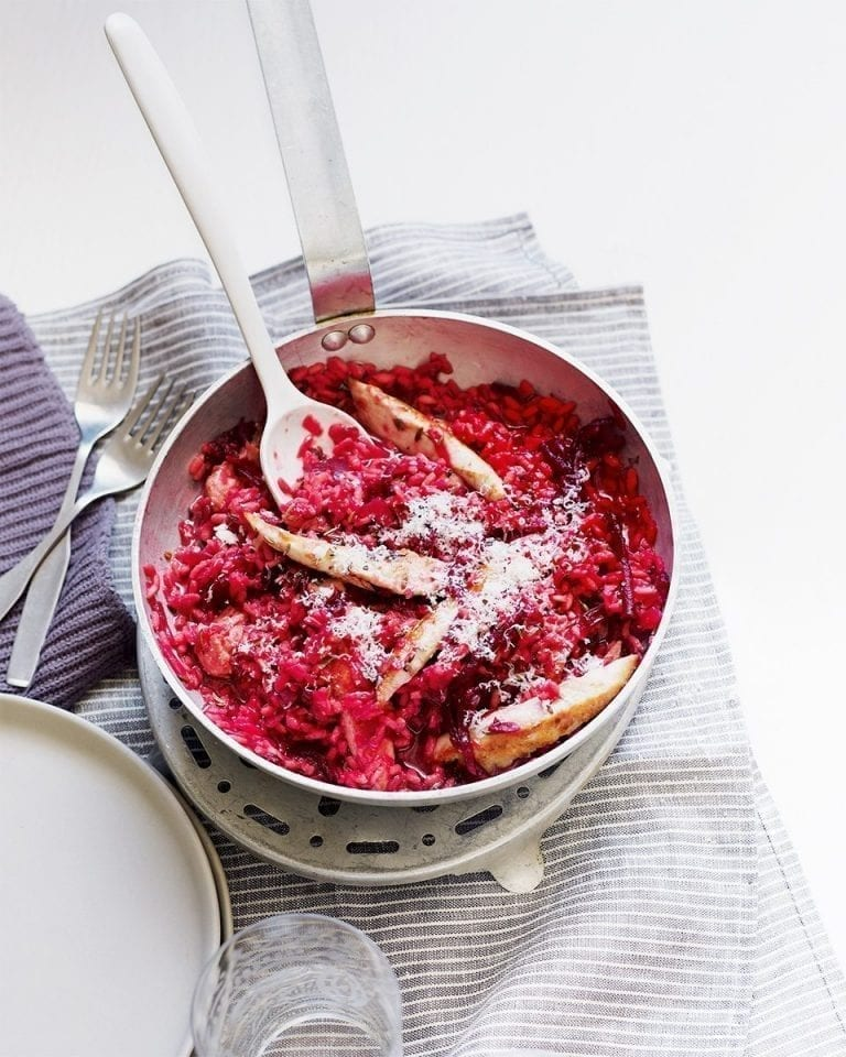 Chicken, caraway and beetroot risotto