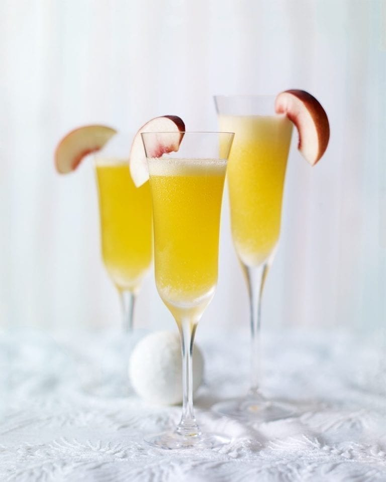 Peach and passion fruit bellini