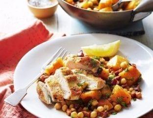 Chicken with pumpkin, pancetta and chickpea stir-fry