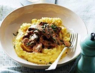 Mushroom stroganoff with quick polenta