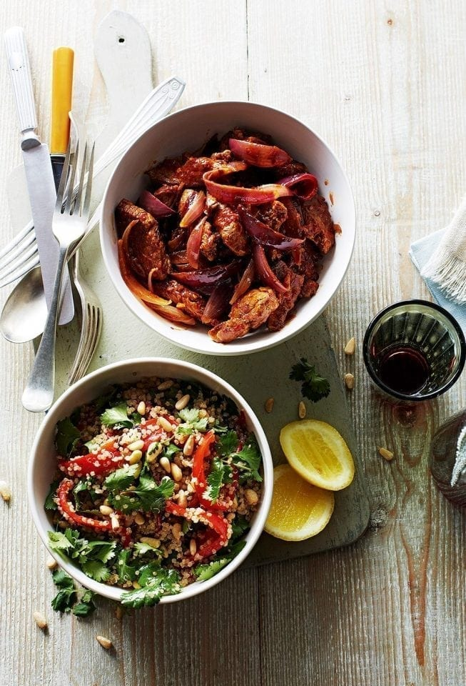 Quick harissa lamb and red onions with herby quinoa