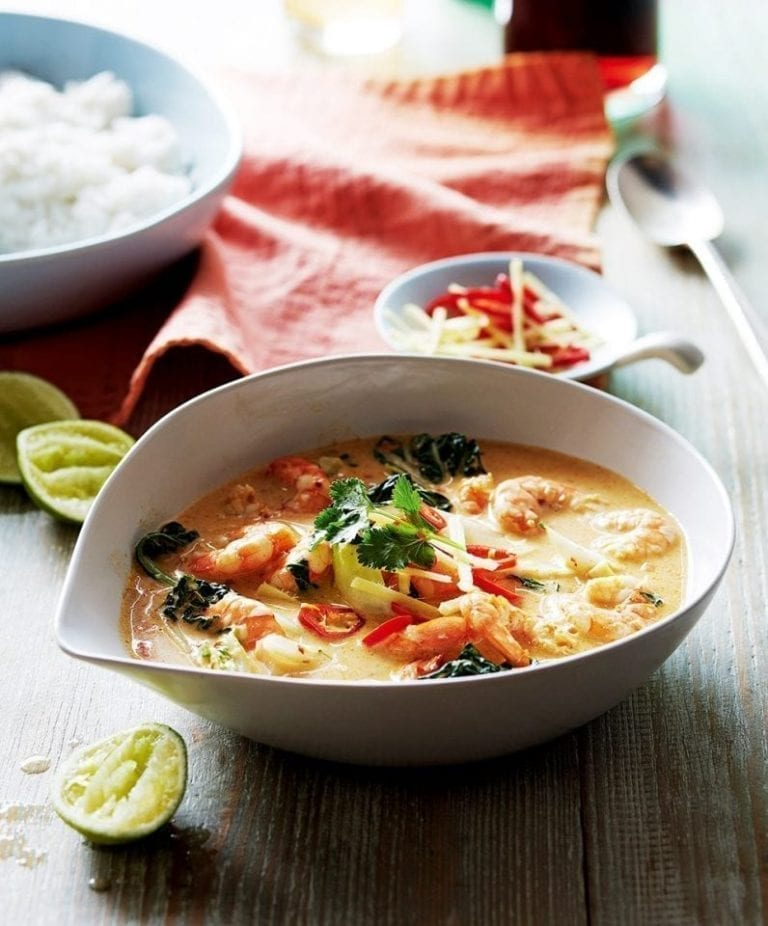 Prawn red Thai curry with coconut rice