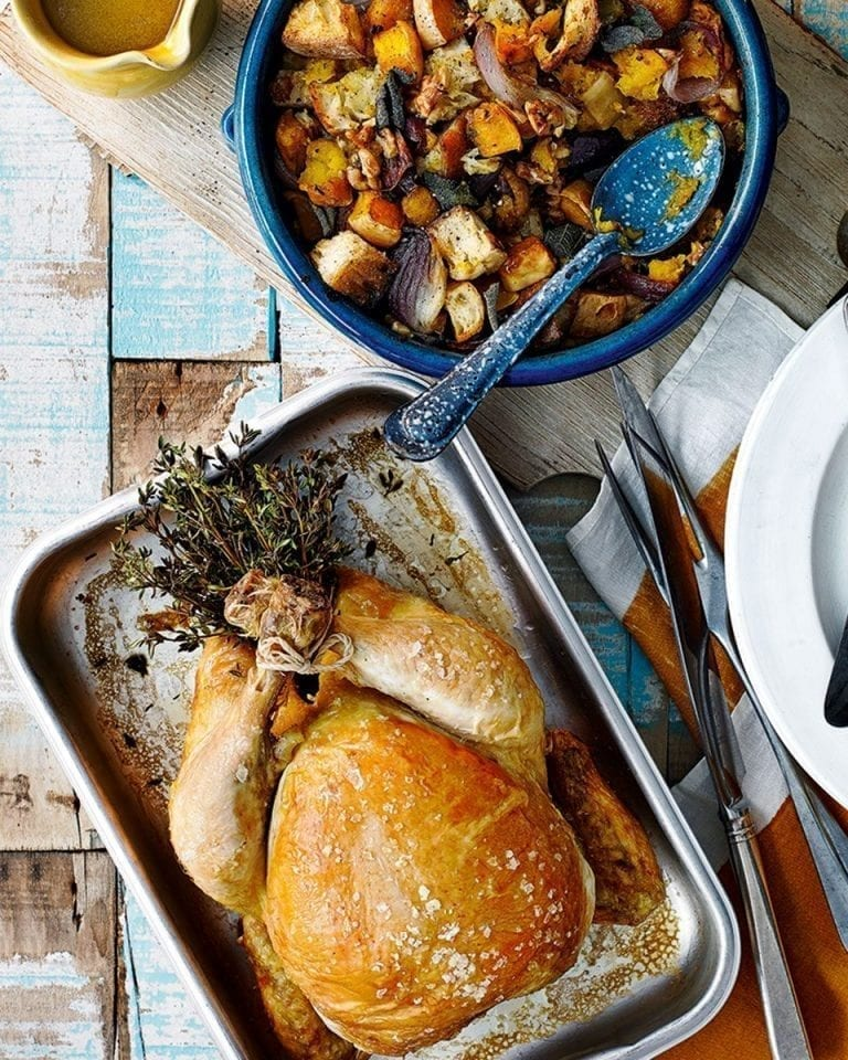 Roast chicken with squash and sourdough stuffing