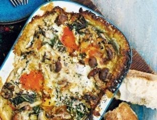 Mushroom and chard baked eggs