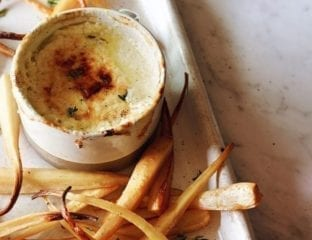 Honey glazed parsnips with baked parmesan dip