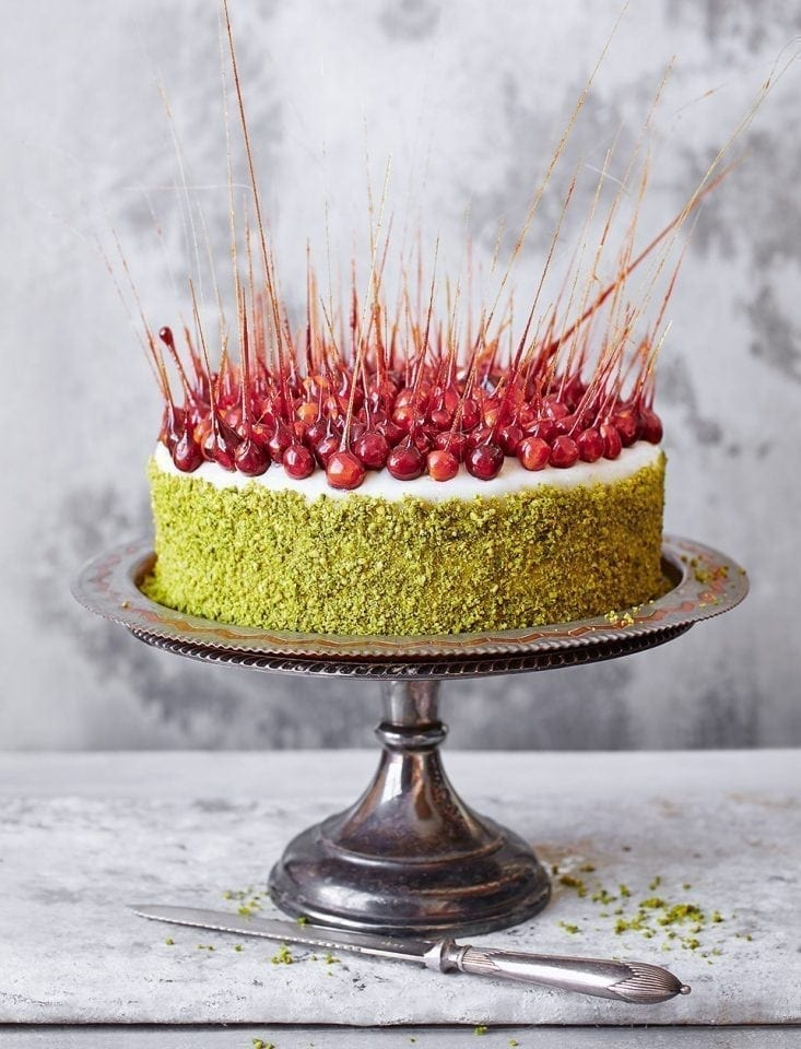 Saffron and pistachio Christmas cake