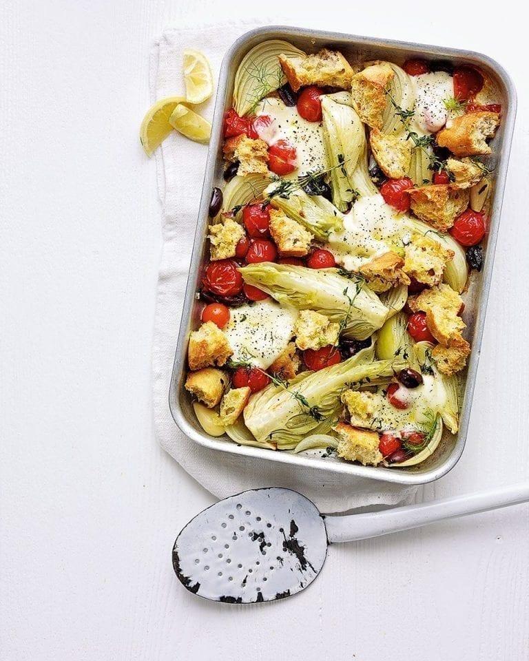 Fennel and mozzarella tray bake