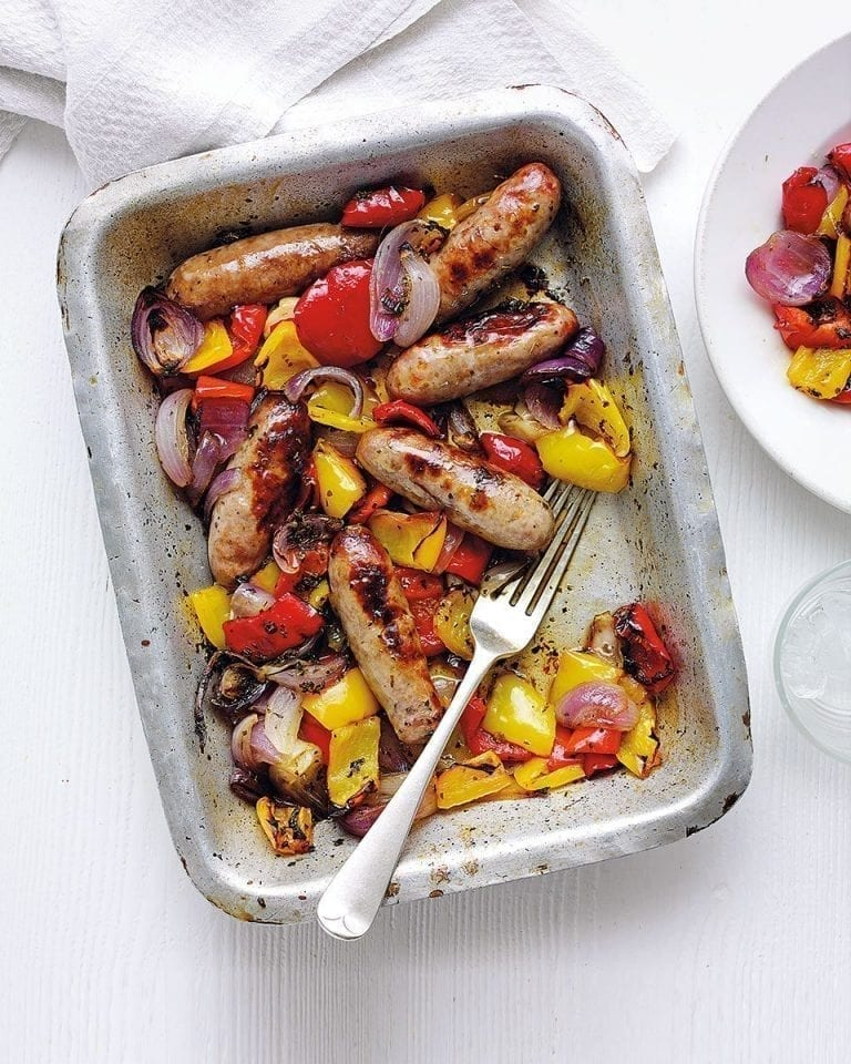 Balsamic sausage, pepper and red onion bake