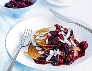 Banana pancakes with berry compote
